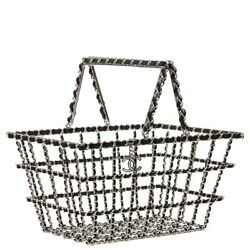 CHANEL SILVER & BLACK CALFSKIN FALL 2014 ACT 2 BASKET SUPERMARKET SHOPPING BAG