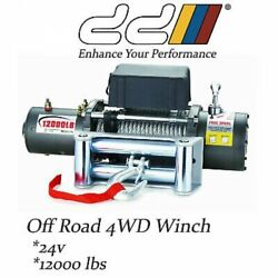 Dd 12000lbs 24v Recovery Electric Winch Trailer Truck 4wd 5443kgs Steel Cable