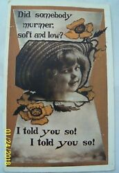 Postmarked South Boston Virginia 1911 quot;Did Somebody Murmer Soft and Low?...