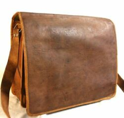 Leather Vintage portfolio Messenger Shoulder Men#x27;s Satchel Laptop Briefcase Bag $32.55