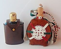 2 Flasks European Whiskey Or Wine Flask Canteen Leather Covered Wood Cap 7.5