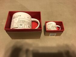 New Starbucks You Are Here 2014 Pike Place Gold Christmas Mug Cup And Ornament