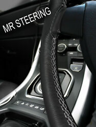 For 1949+ Rover P4 Series Black Leather Steering Wheel Cover Grey Double Stitch