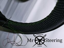 For Rover P4 1949-64 Perforated Leather Steering Wheel Cover Green Double Stitch