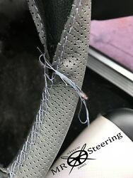 For Rover P4 Grey Perforated Leather Steering Wheel Cover 1949+ Grey Double Stch