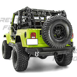 Rock Crawler Rear Bumper+tire Carrier Tailgate+hitch For 97-06 Jeep Wrangler Tj