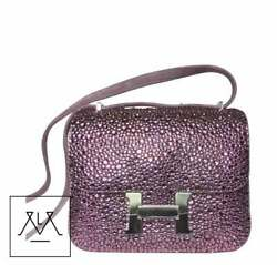Hermes Mini Constance Bag Swarovski Crystals Design Lilac Suede - 100% Authentic