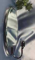 Clean Partylite Beveled Mirror Sconce Chrome Oval Candle Holder.4057