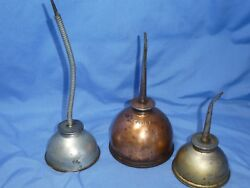 Lot Of 3 Vintage Thumb Pump Eagle Oil Cans