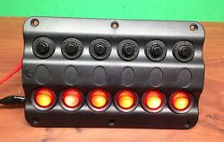 Marine Boat Ip65 Switch Panel 6 Gang Led Switches And Circuit Breaker Wave Design