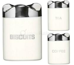 White Houston Tea Coffee Biscuit Canister Stainless Steel Lids Storage Tin Holde