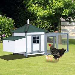 PawHut 77'' Large Chicken Coop Hen small animal  Wooden Cage wNestbox Backyard