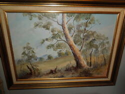 Old, Austrailan Oil Painting By Simpson, The Old Gum, Oil On Panel