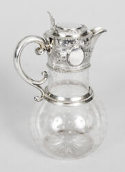 Antique Victorian Silver And Crystal Claret Jug Ewer W And G Sissons 1864