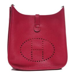 HERMES Evelyne Bag Rubis with Canvas Strap - Clemence Leather