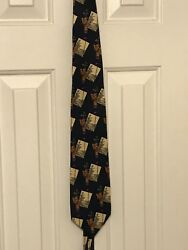Payne Stewart Men#x27;s Golf Tie Gold Bags and Flag $9.99