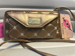Betsey Johnson Rose Gold Quilted Crossbody Clutch Evening Bag Purse MSRP $48 NEW