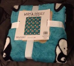 NEW Black Brown Boston Terrier Dog Throw Teal Blanket 50