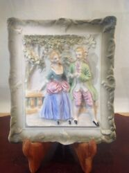 Antique Porcelain Ceramic French Colonial Portland Maine Plaque Wall Picture