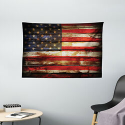 American Flag Tapestry Vintage Wooden Print Wall Hanging Decor 60Wx40L Inches