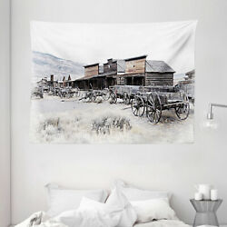 Western Tapestry Old Wooden 20s Town Print Wall Hanging Decor 80Wx60L Inches