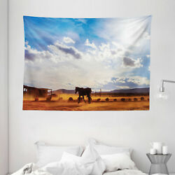 Western Tapestry Horse Valley Sky View Print Wall Hanging Decor 80Wx60L Inches
