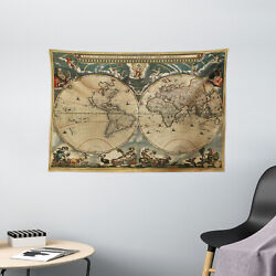 Vintage Tapestry Old Map Ancient World Print Wall Hanging Decor 60Wx40L Inches