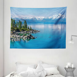 Landscape Tapestry Blue Water Lake Tahoe Print Wall Hanging Decor 80Wx60L Inches