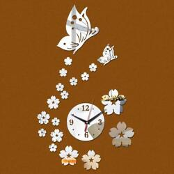 Mirror Wall Sticker Acrylic Home Decor Butterfly Wall Clock Decal