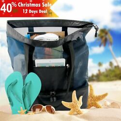 Mesh Beach Bag with Cooler Insulated Picnic Waterproof Nylon Zipper Tote Bags
