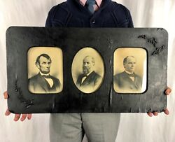 Rare Antique Framed Clear Photos Abraham Lincoln 1st 3 Assassinated Presidents