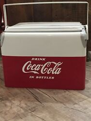 1950and039s Vintage Coca Cola Ice Chest Cooler Sandwich Tray Lid Style