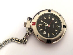 Cherokee 32-387 St Steel Silver Color Fashion Pocket Watch And Chain Works