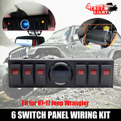 6 Rocker Switch Panel Cotrol Bracket With Digital Voltmeter Jeep JK JKU