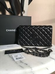 Chanel Blk Lamb Wallet w Metallic Glaze  Silver Chain Limited Addition Sold Out!