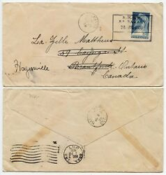 Curacao To Canada Ship Ss Baralt Boxed Dutch Seapost Knsm 1938 St Kitts Transit
