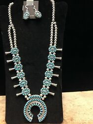 Silver Reversable Turquoise And Coral Navajo Squash Blossom With Earrings
