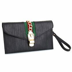 Womens Envelope Bag Gucci Pattern Clutch Evening Wristlet With Adjustable Strap