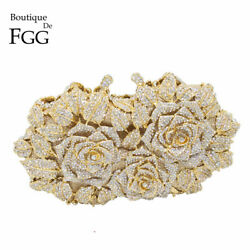 RARE Purse Dazzling Women Gold Rose Flower Crystal Evening Metal Clutches Small