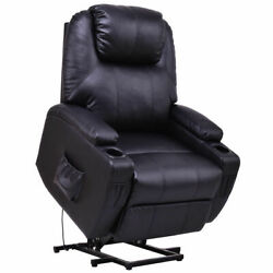 Electric Power Lift Chair Recliner PU Leather Padded Seat w Remote