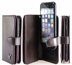 For IPhone 6 Case Burgundy Luxury Dual Leather Wallet Wristlet