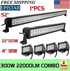 52inch 300w Led Light Bar + 22in 120w Led+ 4 18w Cree Pods Offroad Suv Atv Ford