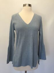 New Jcrew Peplum Sleeve V-neck Sweater Top Heather River Blue Size S Small H2554