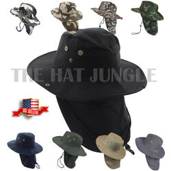 Boonie Hat Neck Flap Fishing Hiking Outdoor Summer Cap Military Snap Wide Brim $13.99