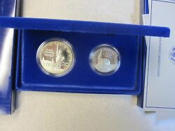1986 2 Coin Set Ellis Is./statue Of Liberty Comm. Proof Sil. Dollar/clad Half