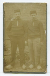 Men, Affectionate Pose Wearing Wooden Shoes And Hats. Cdv.