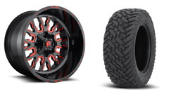 22 22x12 D612 Stroke Red Wheels 33 Fuel Mt Tire Package 8x6.5 Chevy Gmc 8lug