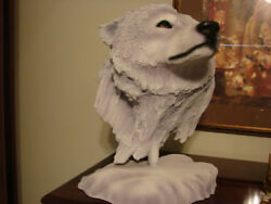 Snow Wolf Fine Art Sculpture By Rick Cain Limited Edition 235/1000 Free Shipn