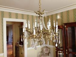 CHANDELIER--AntiqRock Crystal Solid Brass with 20 Candles