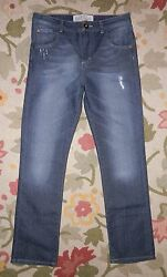 REFILL ~Size 30 W x 30 I ~Dark Blue Denim Straight JEANS ~Feathered Distressed